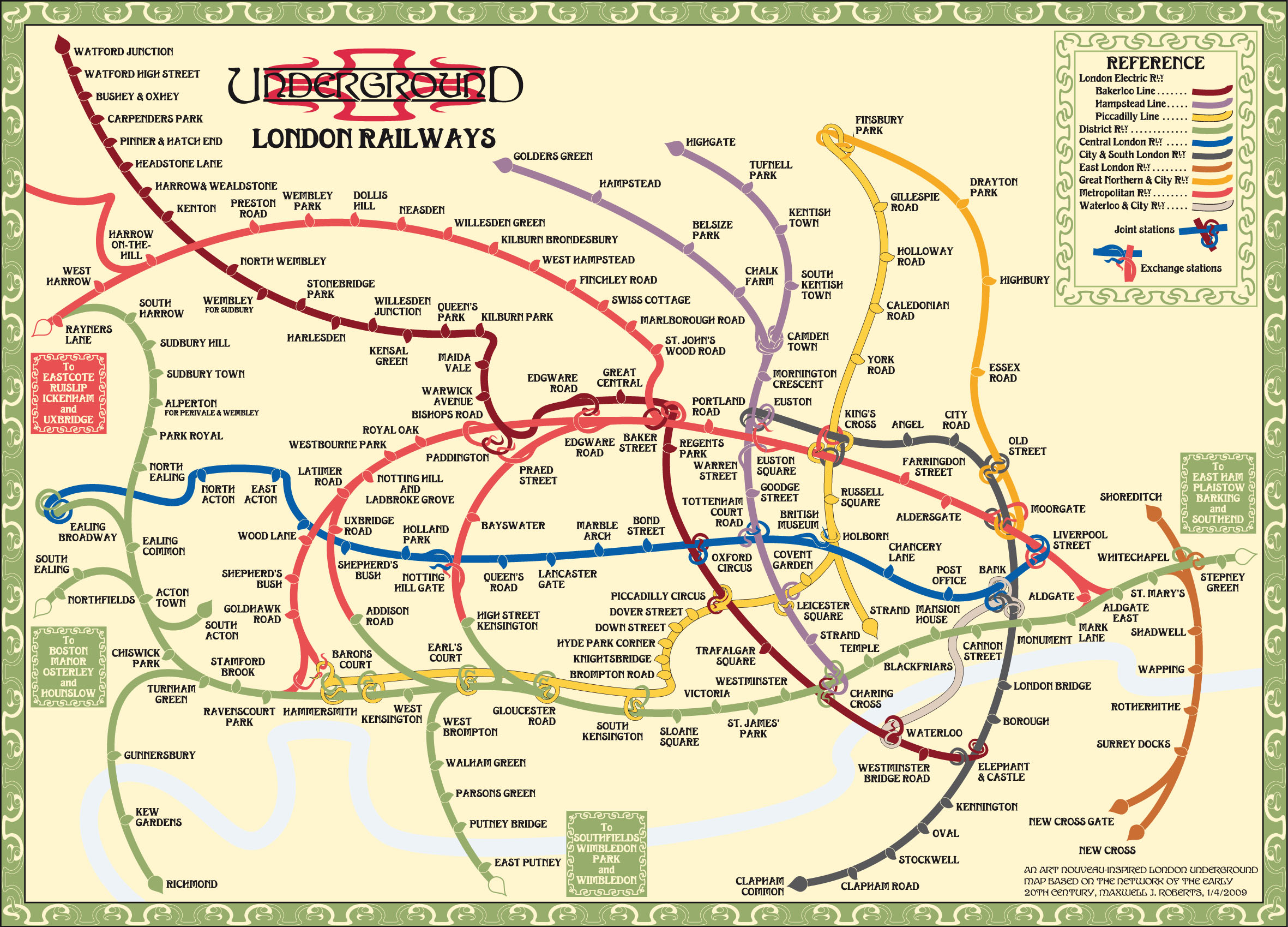 Tube map central web shop print on demand posters london london art nouveau a fantastic jungle of intertwined branches gumiabroncs Images