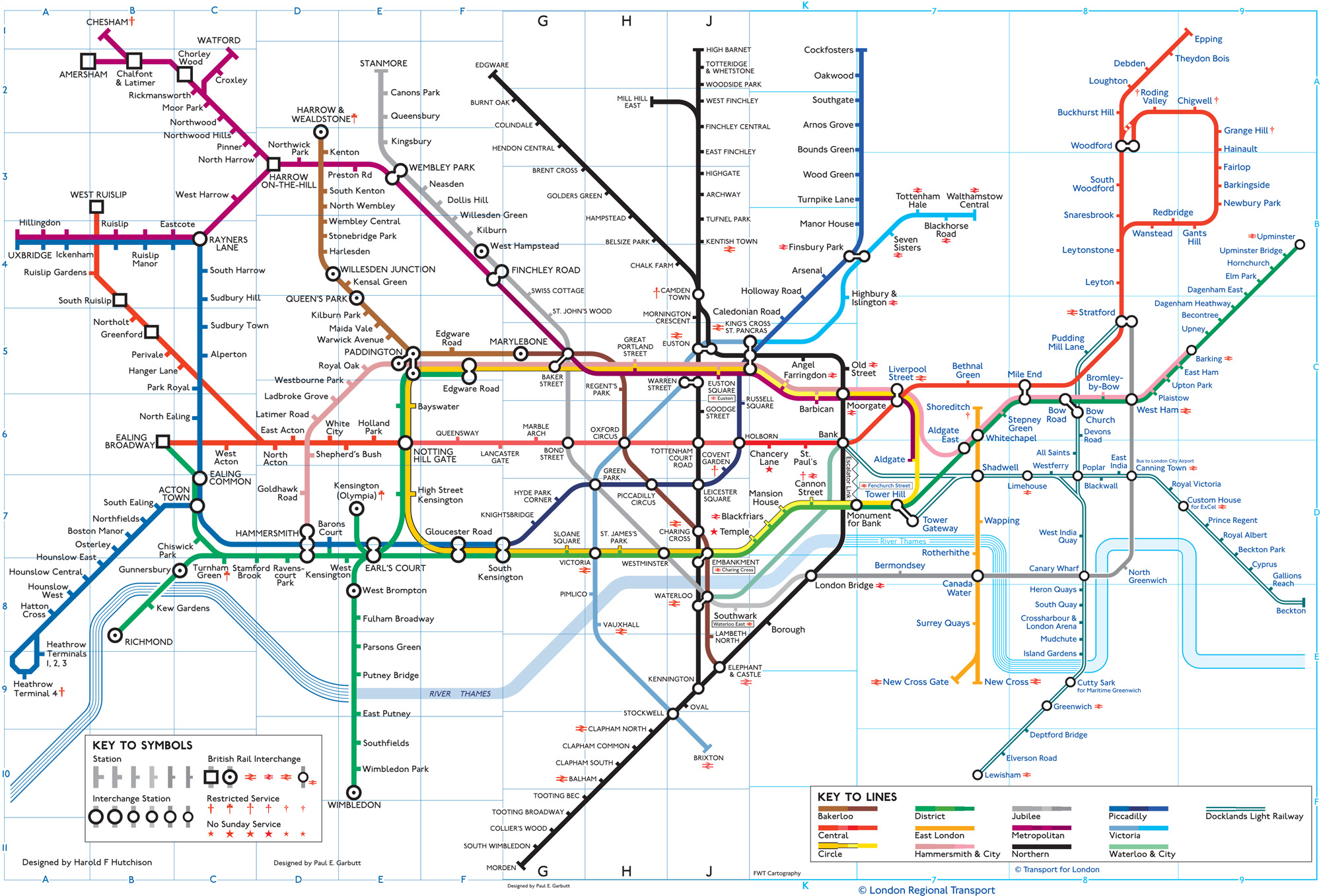 from page 102 a composite map showing from left to right the change in london underground map style from the 1960s to the 2000s